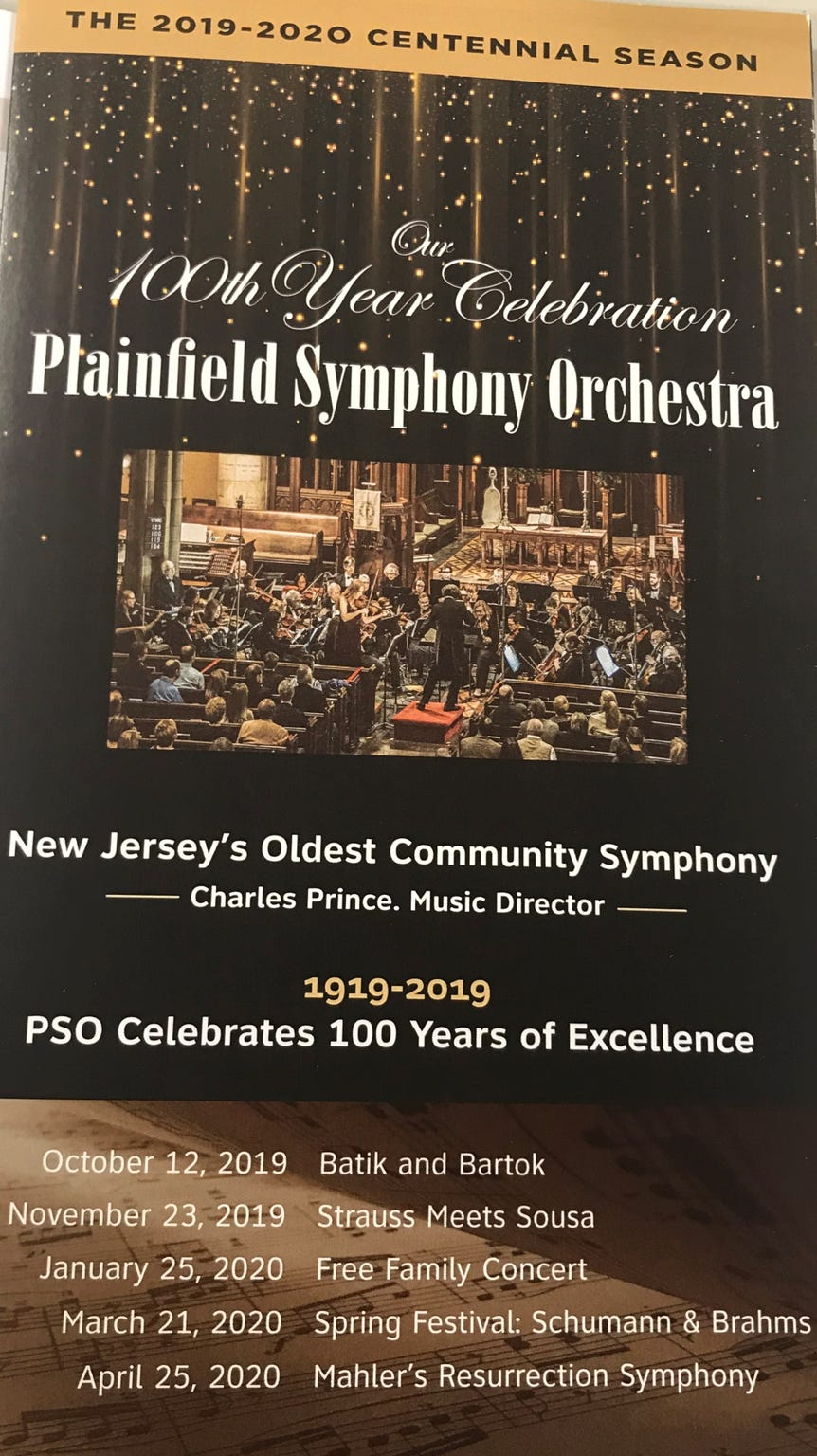The brochure for the 100th season of Plainfield Symphony Orchestra under the direction of Charles Prince, conductor since 2008.