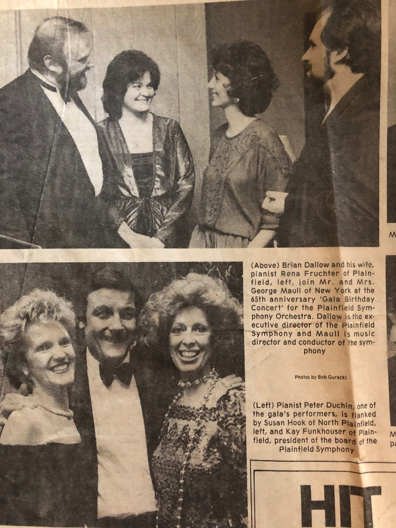 Courier News article about the Plainfield Symphony Orchestra's 65th anniversary celebration in 1984. Pictured at top from left to right are then Executive Director Brian Dallow; his pianist wife Rena Fruchter, who now run the Scotch Plains-based nonprofit Music for All Seasons; Marcia Maull, wife of then conductor George Marriner Maull, who now runs Livingston-based Discovery Orchestra. Pictured at bottom from left to right are Susan Hook of North Plainfield, pianist Peter Duchin, who performed at the 65th anniversary gala and will perform Sept. 21 at the 100th anniversary gala, and then Board President Kay Funkhouser.