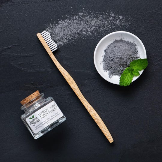 Bestowed Essentials Charcoal + Mint Tooth Powder available at THE COLLECTIVE.
