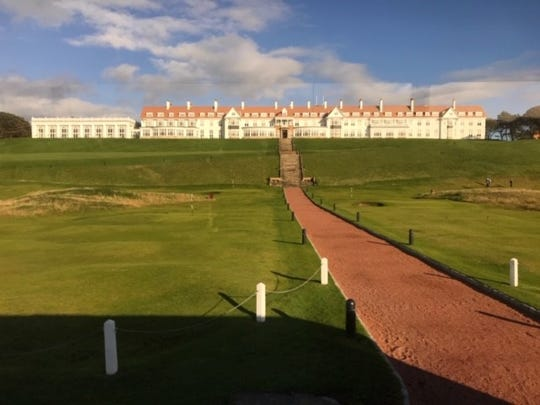 Trump Turnberry resort on Sept. 21, 2018, where a group of nearly 40 Iowa National Guard members stayed during a plane refueling stop in Scotland. It is one of multiple trips now under congressional investigation for potential conflicts of interest between the president's investments and government business.