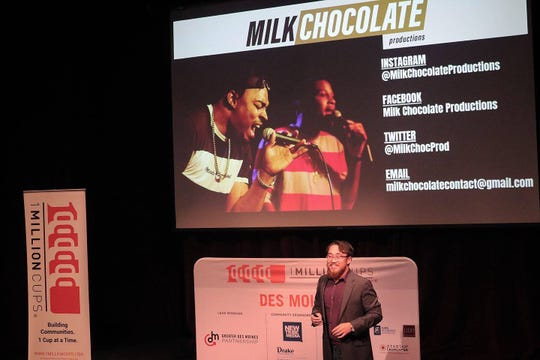 Lucius Pham, 20, presenting his media company Milk Chocolate Productions LLC at 1 Million Cups event.