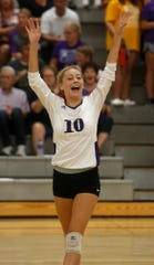 Norwalk junior Grace Sutcliffe reacts to a point. Norwalk beat Pella Christian in three games in a Little Hawkeye Conference match in Norwalk on Sept. 10.