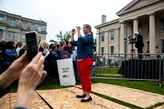 Amy Dawson, an American Sign Language interpreter from Deaf Services Unlimited, translates U.S. Sen. Bernie Sanders', I-Vt., speech during a rally on Sunday, Sept. 8, 2019, on the University of Iowa campus in Iowa City.