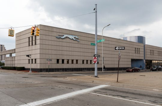 The Greyhound Station on Howard Street is quiet on a stormy day in Detroit, Mich., Wednesday, Sept. 11, 2019.  MDOT plans to sell the current Greyhound location to unknown developers.