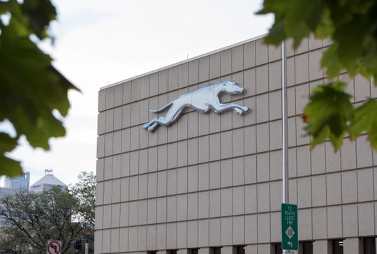 The iconic Greyhound logo of the Greyhound Station on the corner of Howard Street and the John C. Lodge will soon be gone in Detroit, Mich., Wednesday, Sept. 11, 2019.  MDOT plans to sell the current Greyhound location to unknown developers.