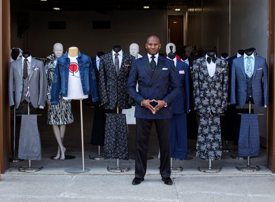 Montee Holland, Detroit designer of menswear company Tayion is photographed at his center of operations in Taylor, Mich., Tuesday, Sept. 10, 2019.