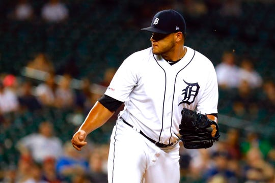 Detroit Tigers reliever Joe Jimenez pitches in the ninth inning against the New York Yankees at Comerica Park, Tuesday, Sept. 10, 2019.