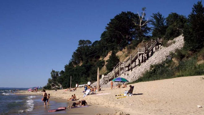 The old beach at Orchard Beach State Park, which has experienced such a rise in Lake Michigan levels that the park no longer has a beach. The stairs pictured here now lead right down to the lake, and are closed to visitors.
