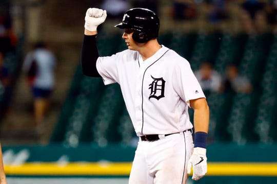 Detroit Tigers catcher Grayson Greiner celebrates after hitting a double in the ninth inning against the New York Yankees at Comerica Park, Tuesday, Sept. 10, 2019.