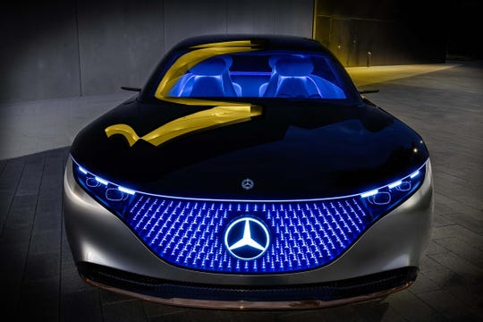 Mercedes-Benz showed off the battery-powered Vision EQS concept car at the Frankfurt 2019 car show.
