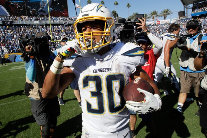 In a 30-24 win over the Indianapolis Colts, Chargers running back Austin Ekeler racked up 154 yards from scrimmage and scored three touchdowns.