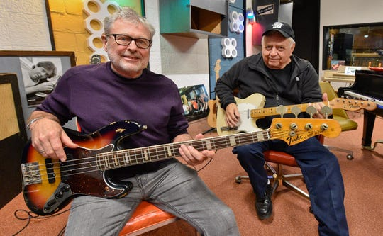 David Hood, left, and Jimmy Johnson - founding members of the Muscle Shoals Rhythm Section a.k.a. the Swampers at the Muscle Shoals Sound Studio in Sheffield, Alabama.