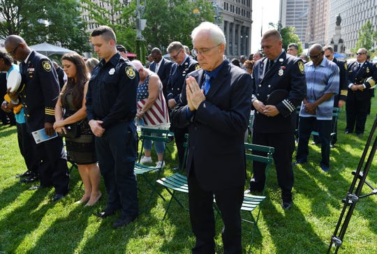 Martin Szelag, 66, of Dearborn Heights prays during a special memorial ceremony for victims of the 9/11 terrorist attacks.