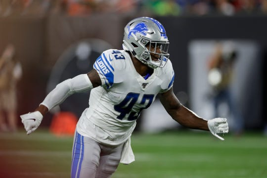 Lions rookie Will Harris, shown here in a preseason game against the Browns, is trying to put last week's mistake during a punt block behind him.