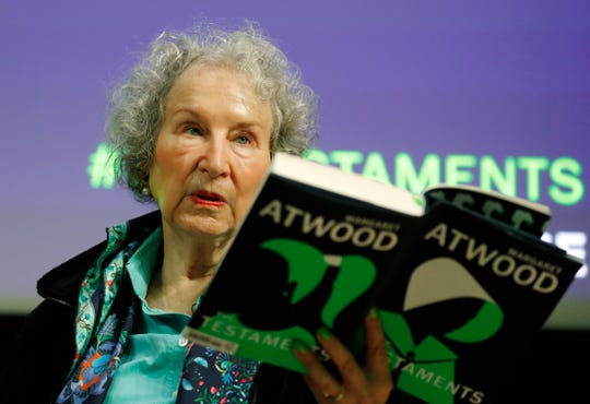 Canadian author Margaret Atwood speaks during a press conference at the British Library to launch her new book 'The Testaments' in London on Tuesday.