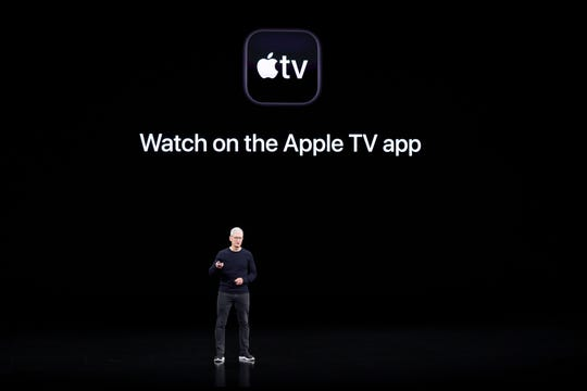 Apple CEO Tim Cook speaks about the new shows on Apple TV at the Steve Jobs Theater during an event to announce new products Tuesday, Sept. 10, 2019, in Cupertino, Calif.