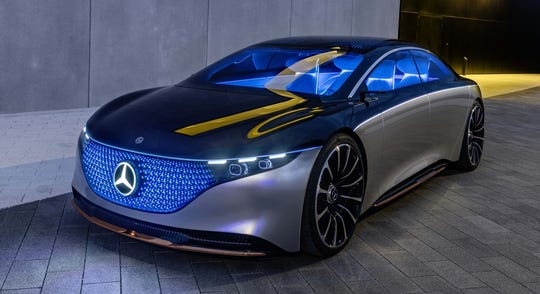 "With its innovative, stretched ""one bow"" proportion, the Mercedes-Benz VISION EQS concept combines comfort, design and technology in a fully-electric vehicle."