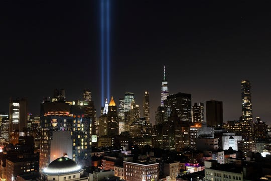 The Tribute in Light rises above the lower Manhattan skyline in New York. Wednesday marks the 18th anniversary of the terror attacks against the United States of Sept. 11, 2001.