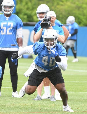 Lions linebacker Jarrad Davis has yet to play this season with an ankle injury.
