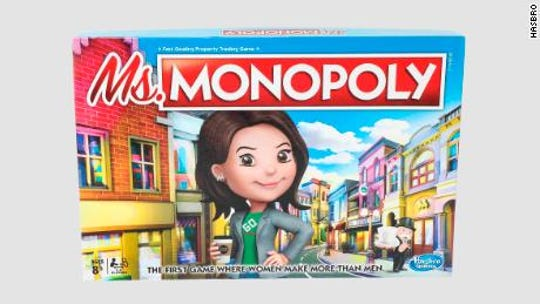 In Ms. Monopoly, an updated classic from Hasbro, girls start earn 20% more than boys.