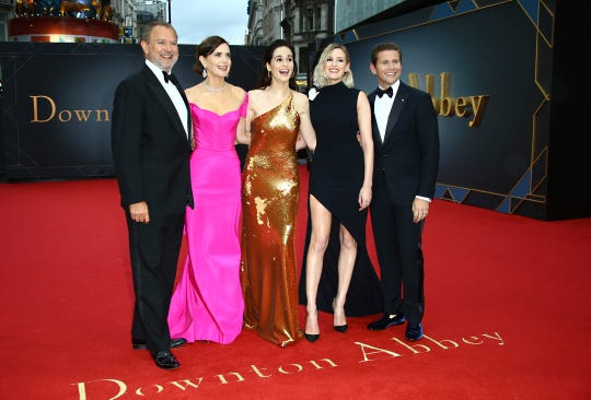 Actors Hugh Bonneville, from left, Elizabeth McGovern, Michelle Dockery, Laura Carmichael and Allen Leech pose for photographers upon arrival at the World premiere of the film 'Downton Abbey' in central London, Monday, Sept. 9, 2019.