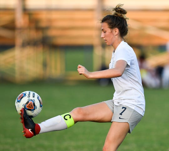 Reitz's Macy Broshears (7) tries to control the ball as the Reitz Panthers play the Harrison Warriors at the EVSC Soccer Complex Tuesday evening, September 10, 2019.