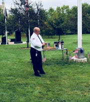 Fond du Lac Fire/Rescue Chief Peter O'Leary gives remarks at the 9/11 Never Forget ceremony at Sept. 11, 2019 at Hamilton Park.