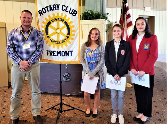 Left to right are Roger Kuns, Fremont Rotary Club President; Kayla Glotzbecker, Fremont Ross High School; Mattie Spicer, St. Joseph Central Catholic High School; and Nicole Holland, Vanguard Career and Tech Center.