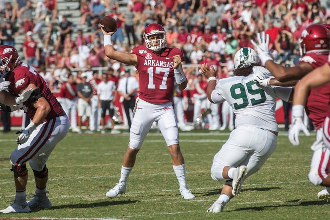 Arkansas' Nick Starkel will start at quarterback for the Razorbacks against CSU on Saturday.