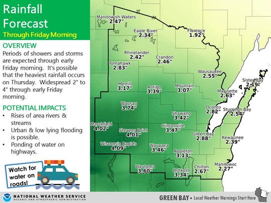Rainfall forecast in northeast-central Wisconsin