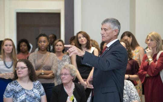 On his first day as President of The University of South Carolina, Bob Caslen talks with members of woman's professional organization gathered at the school of law on Aug. 1, 2019.