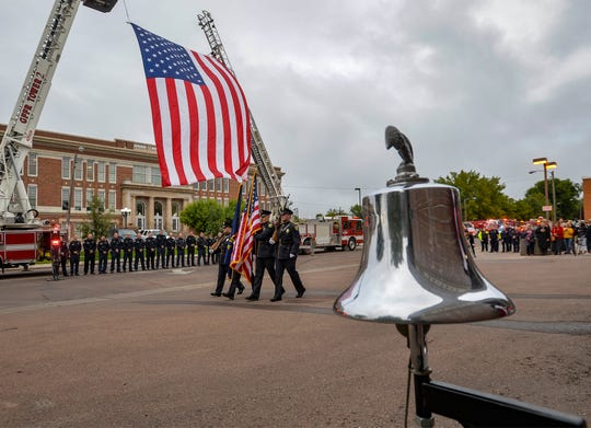 Firefighters rang this bell in honor of those firefighters lost in the Sept. 11, 2001 attacks.