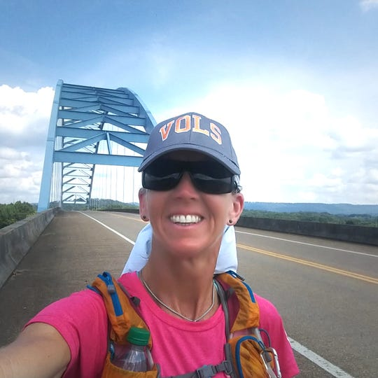 The Blue Bridge that crosses the Tennessee River at South Pittsburg, Tennessee, is a welcome sight for weary participants in the Last Annuao Vol State Run. It stands at milepoint 303, just 11 miles from the end.