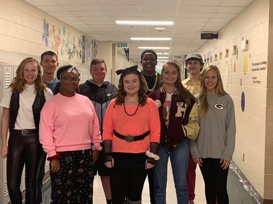 Front row:  Madeline McCormic, Shadira Chester, Maggie Privette, Ellie Kellen, Aly Buchanan Back Row:  Dylon Moore, Aiden Grace, Bryce Tapp, Brayden Lyons Not Pictured:  Julianne Latimer and Jessie Adams