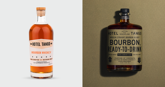 Hotel Tango has revamped its old labels and bottles (left) to draw on its military roots (new one on the right).