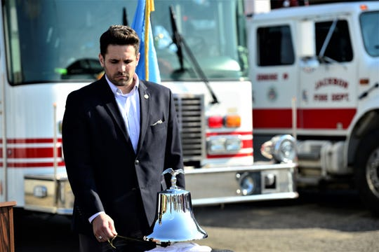 Jackson Mayor Scott Conger said the thing that has surprised him the most is the respect from the community for the office. Here he rings the bell during a 9/11 ceremony at the Jackson Fire Department on Sept. 11, 2019 in Jackson, Tenn.