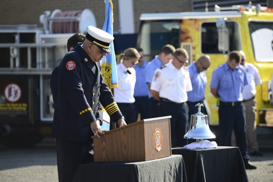Jackson Fire Department Chief Darryl Samuels speaks during JFD's 9/11 Commemoration Ceremony on Sept. 11, 2019 in Jackson, Tenn.