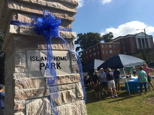 Pillars are dedicated at Island Home Park on Sept. 7, 2019. The new pillars are 12 feet tall, 4 feet wide at the base, and constructed of locally quarried marble from Tennessee Marble Company.