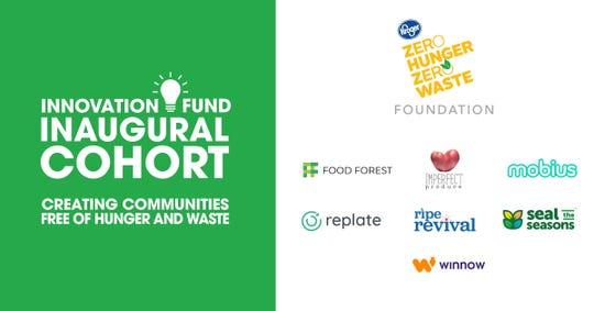 The Kroger Foundation program logo and the seven initial winners of Zero Hunger/Zero Waste grant funding.
