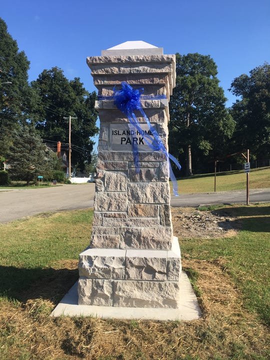 """Pillar at the Fisher Place entry to Island Home Park. """"There had to be some changes to the design that Tennessee Marble and the contractors helped us with because some of it (the original 108-year-old column design) you can't do in 2019,"""" said Nancy Campbell, Island Home Park Neighborhood Association president. """"It took every bit of the money we raised. Our initial budget was $19,500 and by the end cost $23,000."""""""