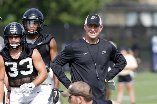 Purdue head coach Jeff Brohm reacts during practice, Tuesday, Sept. 10, 2019 at Bimel Practice Complex in West Lafayette.