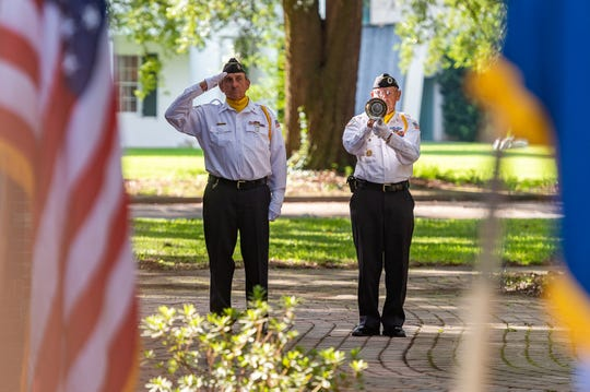 Honor Guard Harold Borel and Adam Mouton playing bugle during the 911 Memorial ceremony at the UL Alumni  Center Garden.  Wednesday, Sept. 11, 2019.