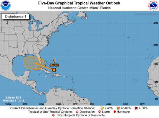 A tropical system has a 60 percent chance of strengthening into a depression as it moves into the Gulf of Mexico this weekend.