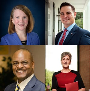 (Clockwise from left) Mayor-President Candidates Carlee Alm-LaBar, Josh Guillory, Nancy Marcotte and Carlos Harvin talked about race, education and opportunity at a forum hosted at the Clifton Chenier Center Tuesday night. Candidate Simone Champagn (not pictured) was unable to attend.