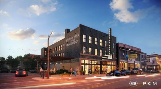 Rendering of the South of Beale in its new location at the renovated Ambassador Hotel building at 345 S. Main St.