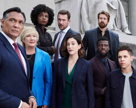 "The cast of ""Bluff City Law"": Jimmy Smits as Elijah Strait, Jayne Atkinson as Della Bedford, MaameYaa Boafo as Briana Johnson, Barry Sloane as Jake Reilly, Caitlin McGee as Sydney Strait, Josh Kelly as Robbie Ellis, Michael Luwoye as Anthony Little and Stony Blyden as Emerson Howe."