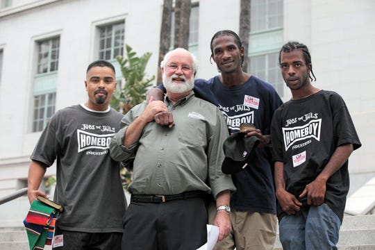 """Father Gregory Boyle is the founder of Homeboy Industries in Los Angeles, which he grew into a trauma-focused healing sanctuary that simultaneously operates as an employment agency. His trainees are former gang members or prison inmates. """"Someone who is healed will never go back to prison,"""" Boyle says."""