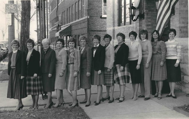 In 1984, MacDowell Club of Milwaukee members pose in front of the Woman's Club of Wisconsin, 813 E. Kilbourn Ave., a few days before the MacDowell Club's 75th anniversary event. After 100 years, the MacDowell Club is disbanding after a farewell concert Sept. 22, 2019.