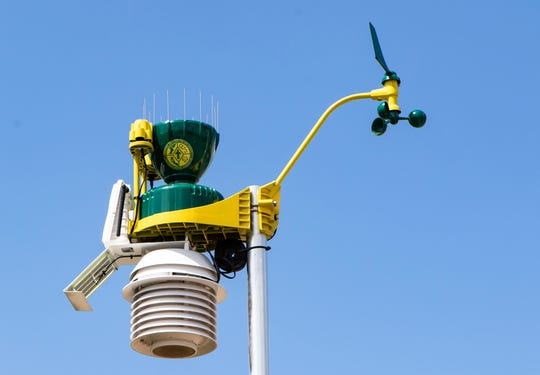 Ouachita Christian School's WeatherSTEM is emblazed with the school's logo and is located along the fence of the baseball stadium.