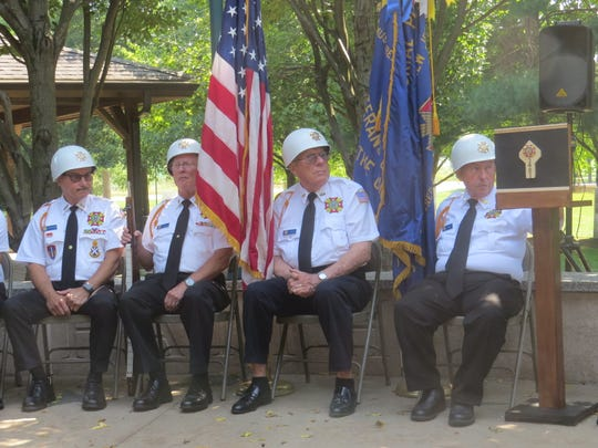 Members of the Montville VFW Post 5481 Color Guard during the township's 9/11 memorial service at Community Park's Freedom Plaza. Sept. 11, 2019